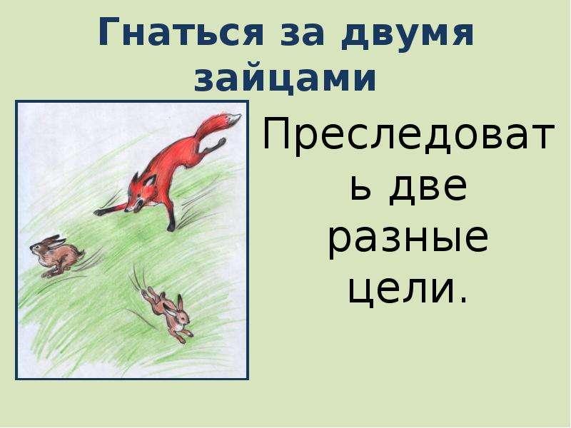 Картинки к пословице за двумя зайцами погонишься