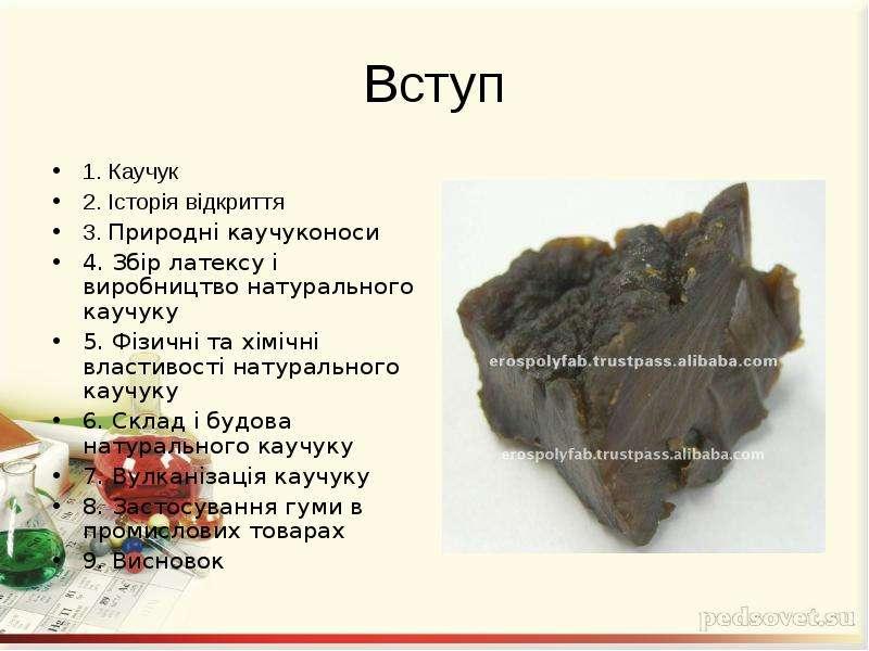 Презентация по химии: натуральный каучук