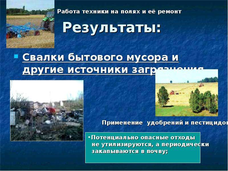 Результаты: Свалки бытового мусора и другие источники загрязнения
