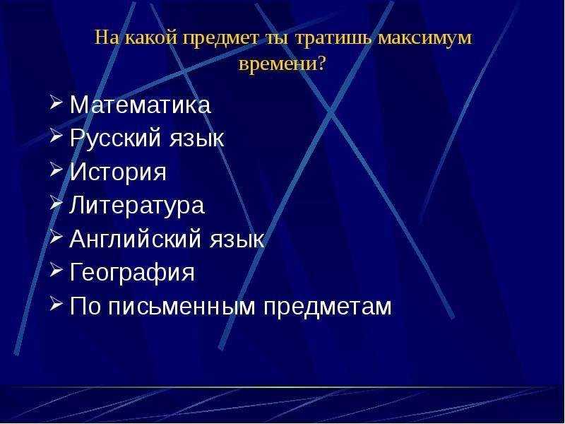 На какой предмет ты тратишь максимум времени? Математика Русский язык История Литература Английский