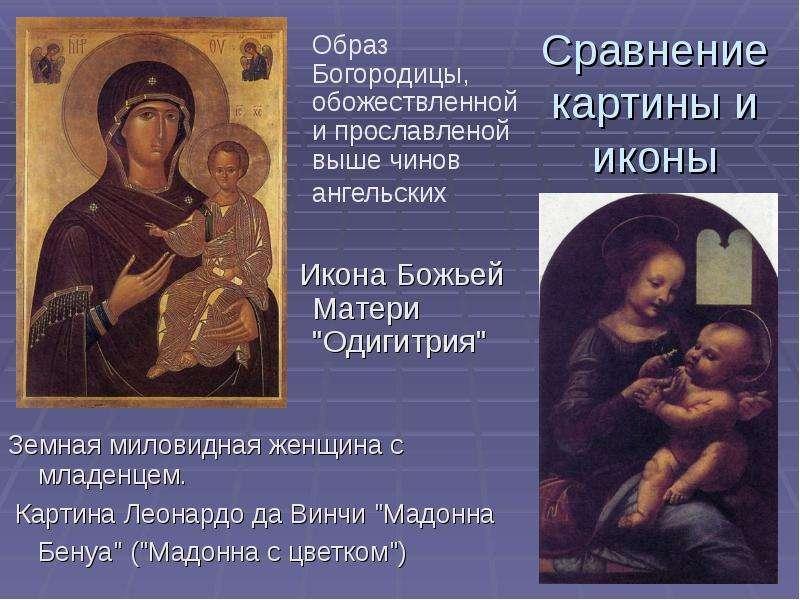Сравнение картины и иконы Образ Богородицы, обожествленной и прославленой выше чинов ангельских Икон