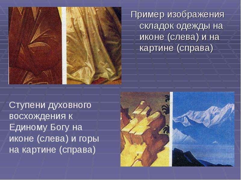 Пример изображения складок одежды на иконе (слева) и на картине (справа) Пример изображения складок
