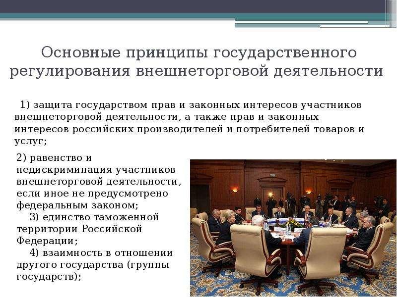 Основные принципы государственного регулирования внешнеторговой деятельности 1) защита государством