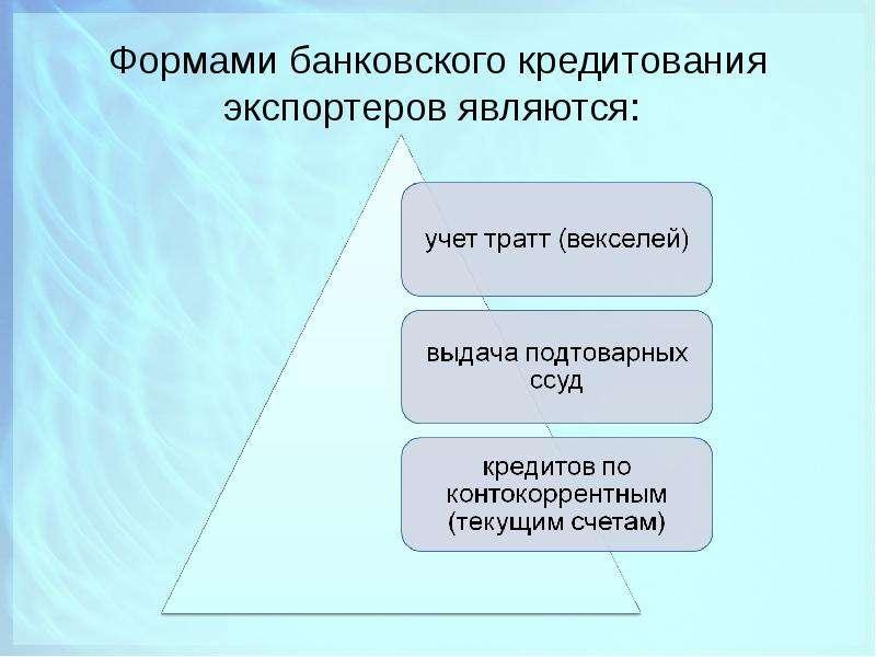 Формами банковского кредитования экспортеров являются: