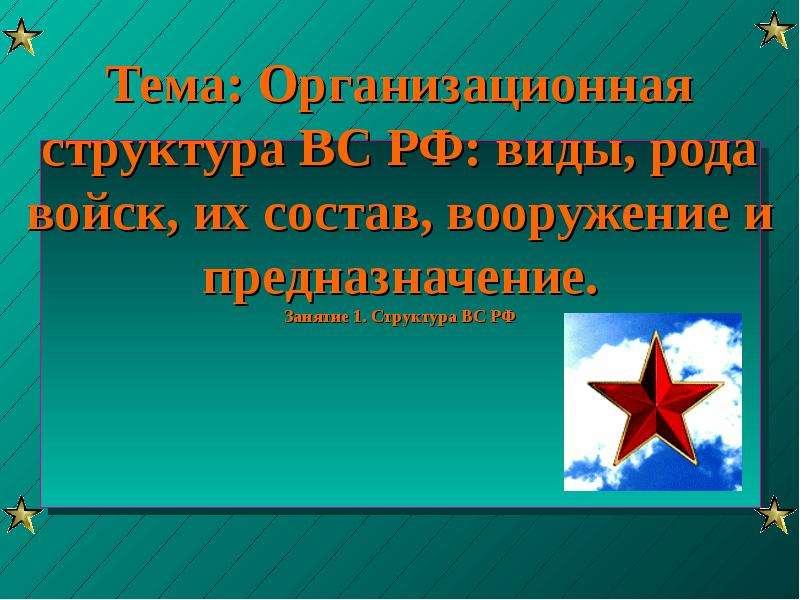 Презентация Организационная структура ВС РФ: виды, рода войск, их состав, вооружение