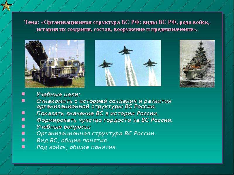 Тема: «Организационная структура ВС РФ: виды ВС РФ, рода войск, история их создания, состав, вооруже