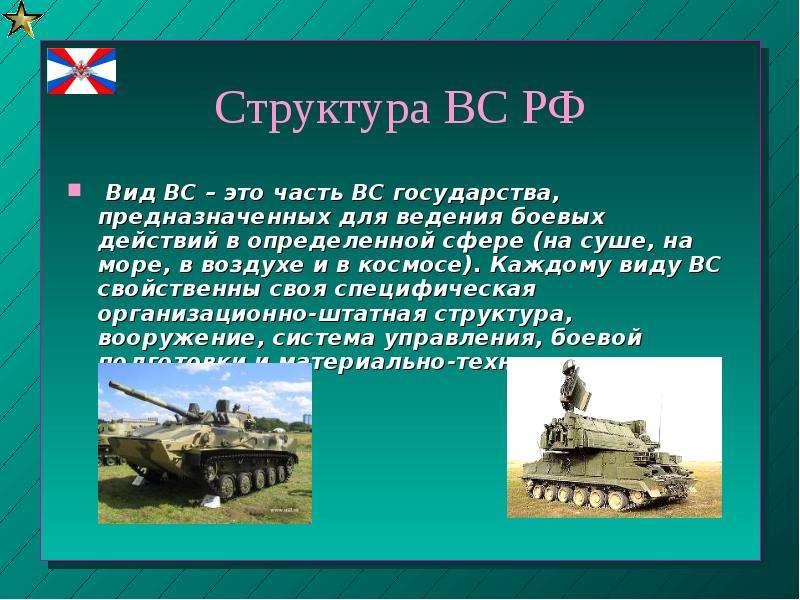Структура ВС РФ Вид ВС – это часть ВС государства, предназначенных для ведения боевых действий в опр