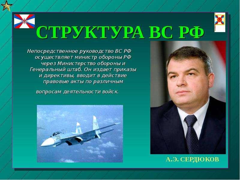 СТРУКТУРА ВС РФ Непосредственное руководство ВС РФ осуществляет министр обороны РФ через Министерств