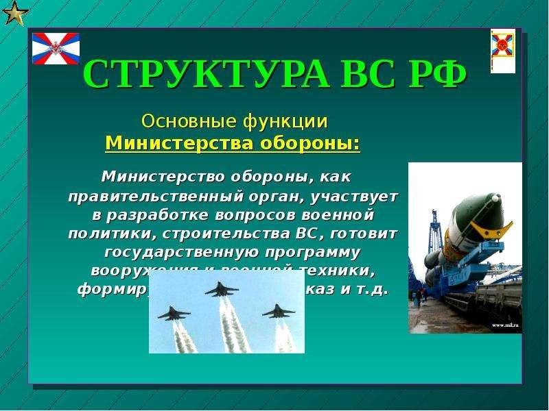 СТРУКТУРА ВС РФ Основные функции Министерства обороны: Министерство обороны, как правительственный о