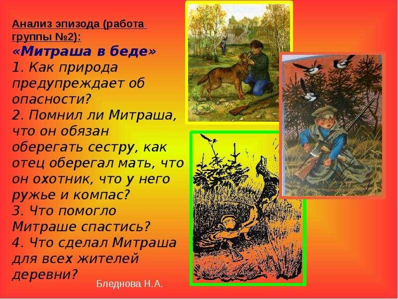 Анализ эпизода (работа группы №2): «Митраша в беде» 1. Как природа предупреждает об опасности? 2. По