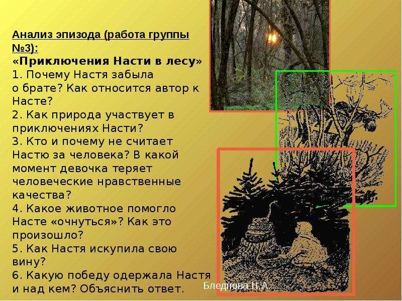Анализ эпизода (работа группы №3): «Приключения Насти в лесу» 1. Почему Настя забыла о брате? Как от