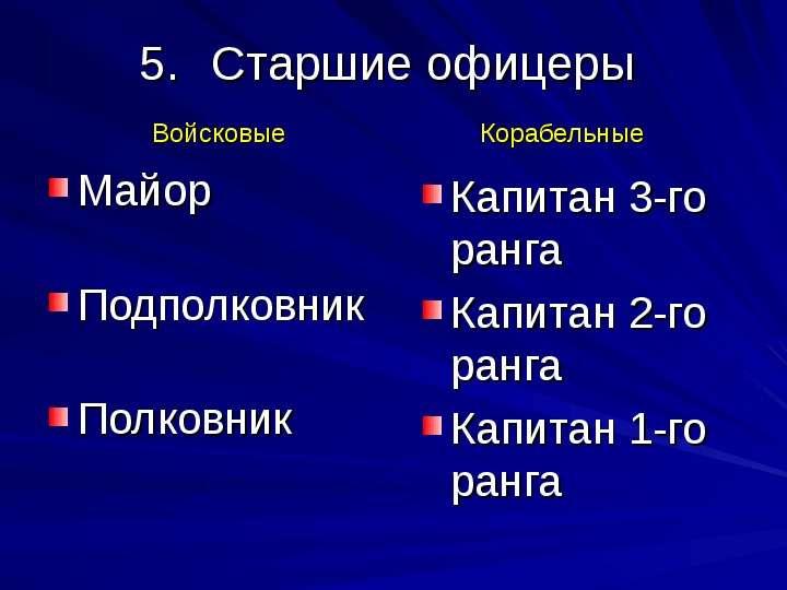 Старшие офицеры Майор Подполковник Полковник