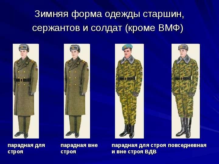 Зимняя форма одежды старшин, сержантов и солдат (кроме ВМФ)