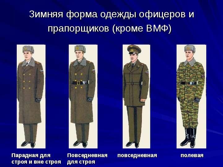 Зимняя форма одежды офицеров и прапорщиков (кроме ВМФ)