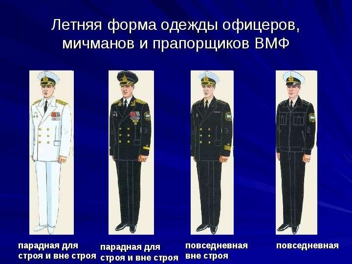 Летняя форма одежды офицеров, мичманов и прапорщиков ВМФ