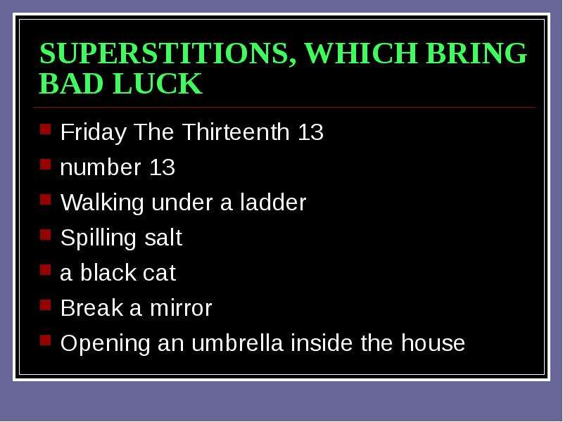 Superstitions Form 8 B School 42 Dnipropetrovsk