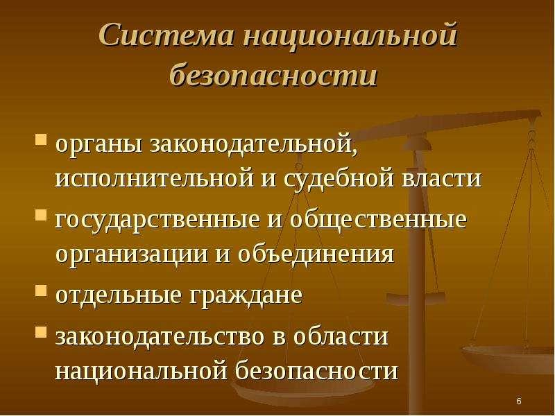 Cистема национальной безопасности органы законодательной, исполнительной и судебной власти государст