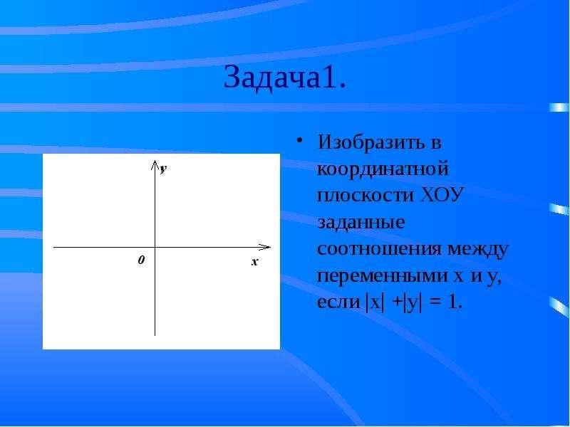 Задача1. Изобразить в координатной плоскости ХОУ заданные соотношения между переменными х и у, если