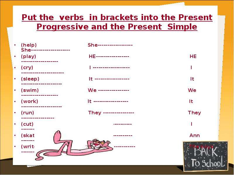 the brackets present simple verbs the in гдз put in