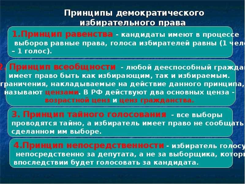 Принципы Избирательного Права Российской Федерации Шпаргалка