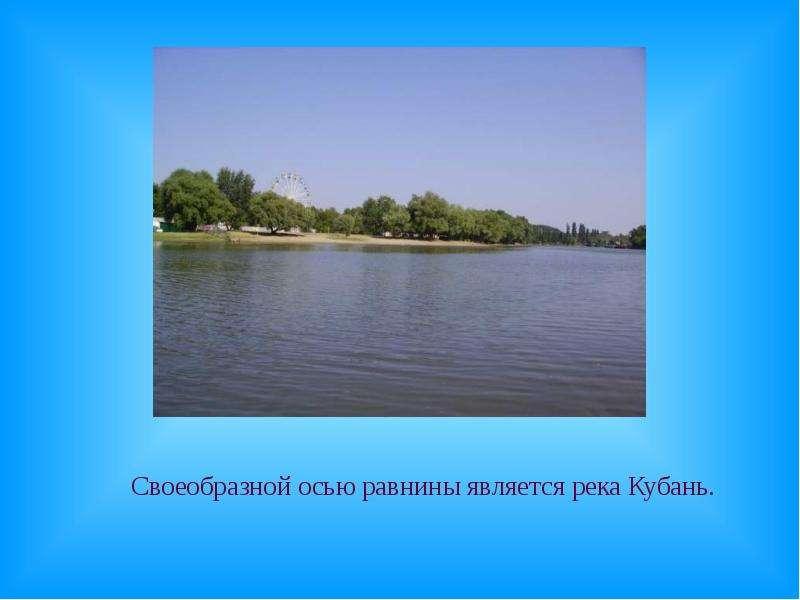 Своеобразной осью равнины является река Кубань. Своеобразной осью равнины является река Кубань.