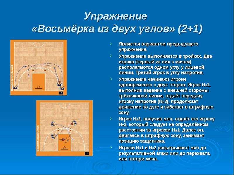 Упражнение «Восьмёрка из двух углов» (2+1) Является вариантом предыдущего упражнения. Упражнение вып