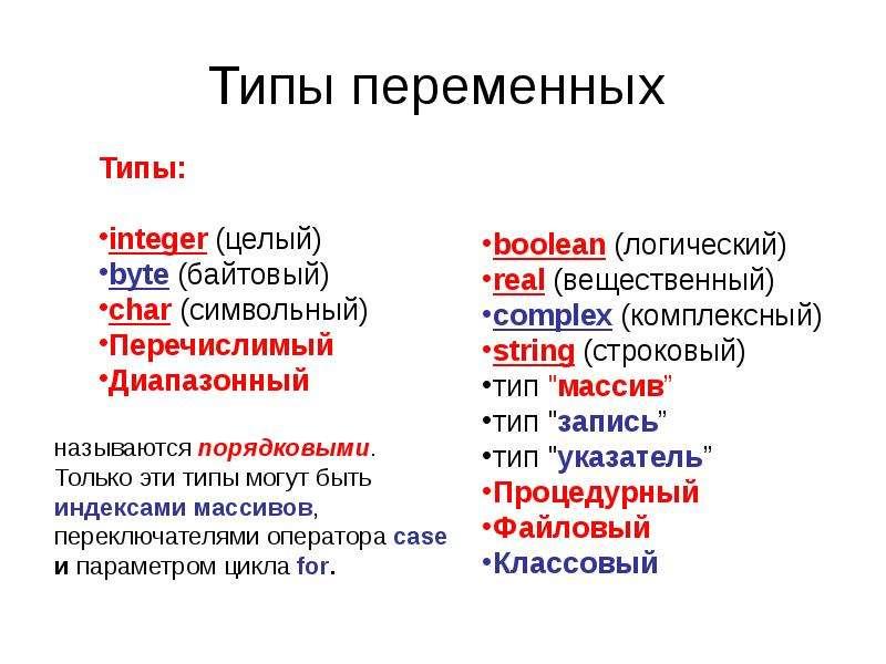 Типы переменных