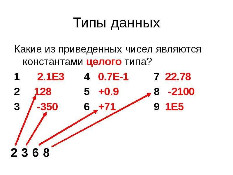 Типы данных Какие из приведенных чисел являются константами целого типа? 1 2. 1E3 4 0. 7E-1 7 22. 78