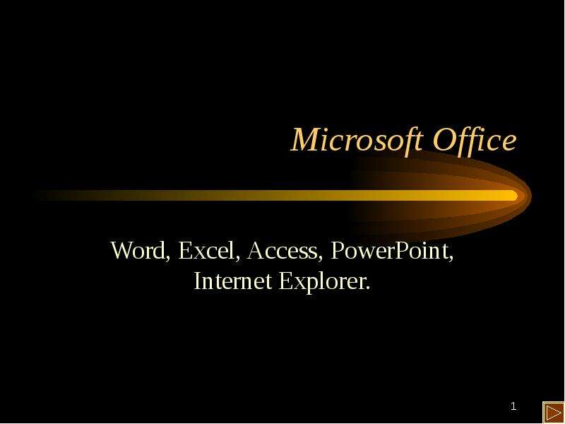 Microsoft Office Word, Excel, Access, PowerPoint, Internet Explorer.