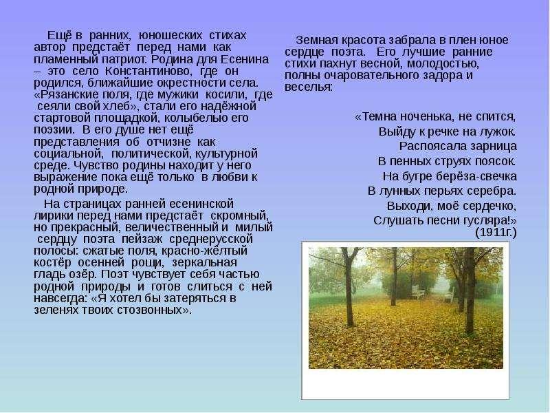 Тема Родины в лирике Есенина Я буду воспевать Всем существом в  Описание слайда