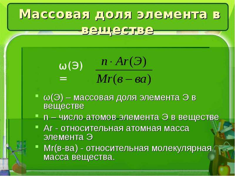 Массовая доля элемента в веществе ω(Э) – массовая доля элемента Э в веществе n – число атомов элемен