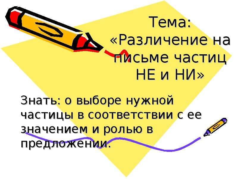 Презентация Тема: «Различение на письме частиц НЕ и НИ» Знать: о выборе нужной частицы в соответствии с ее значением и ролью в предложении.