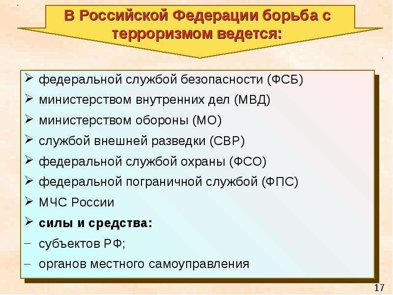 В Российской Федерации борьба с терроризмом ведется: федеральной службой безопасности (ФСБ) министер