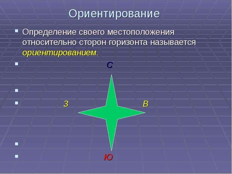 Ориентирование Определение своего местоположения относительно сторон горизонта называется ориентиров