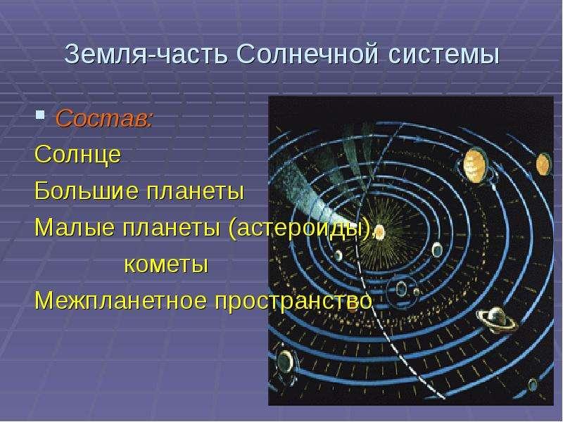 Земля-часть Солнечной системы Состав: Солнце Большие планеты Малые планеты (астероиды), кометы Межпл