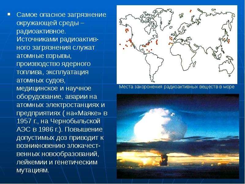 Самое опасное загрязнение окружающей среды – радиоактивное. Источниками радиоактив-ного загрязнения