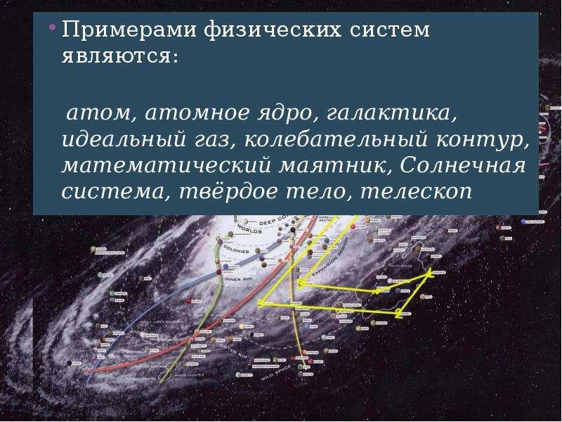 Примерами физических систем являются: Примерами физических систем являются: атом, атомное ядро, гала