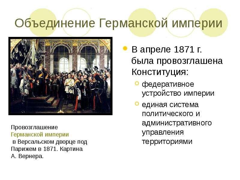 Объединение Германской империи В апреле 1871 г. была провозглашена Конституция: федеративное устройс