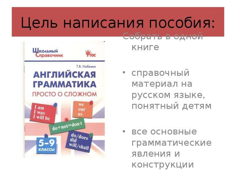 Цель написания пособия: Собрать в одной книге справочный материал на русском языке, понятный детям в
