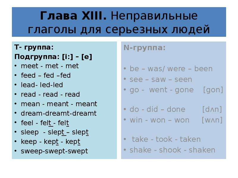 Глава XIII. Неправильные глаголы для серьезных людей T- группа: Подгруппа: [i:] – [e] meet - met - m