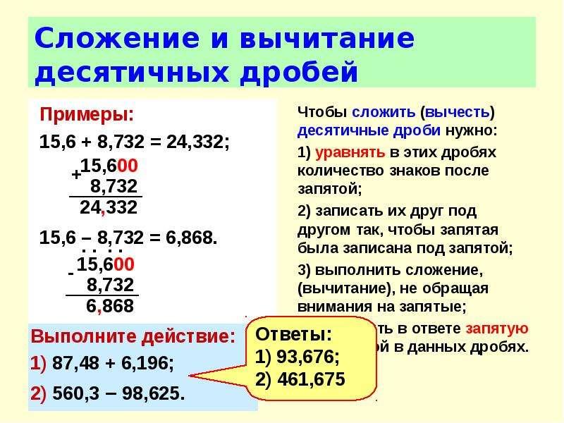 Сложение и вычитание десятичных дробей Примеры: 15,6 + 8,732 = 24,332; 15,6 – 8,732 = 6,868.