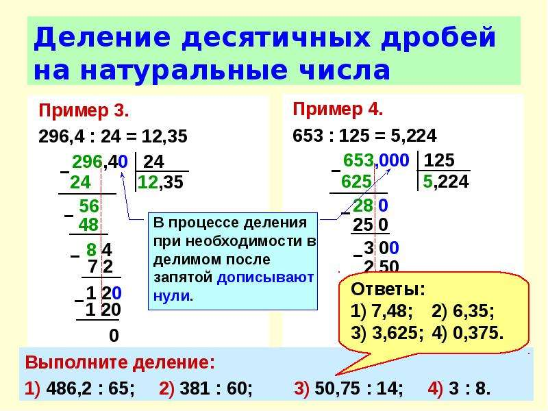 Деление десятичных дробей на натуральные числа Пример 3. 296,4 : 24 = 12,35