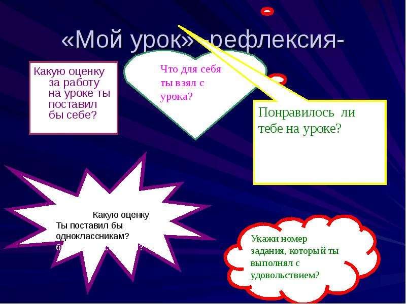 «Мой урок» -рефлексия- Какую оценку за работу на уроке ты поставил бы себе?