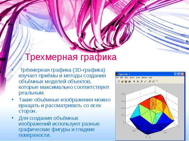 Трехмерная графика Трёхмерная графика (3D-графика) изучает приёмы и методы создания объёмных моделей