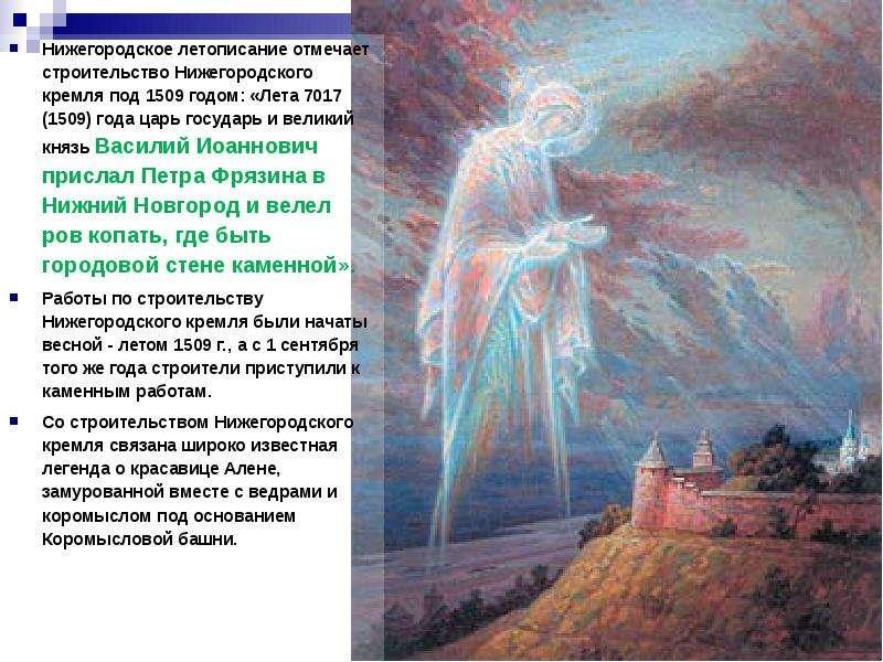 Нижегородское летописание отмечает строительство Нижегородского кремля под 1509 годом: «Лета 7017 (1