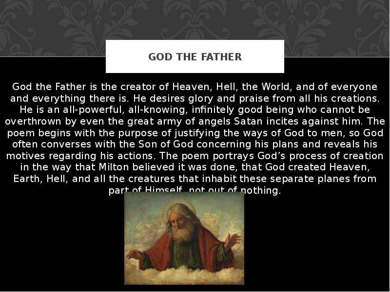 essay on god the father Religious imagery in the godfather print if you are the original writer of this essay and no longer wish to have the essay published on the uk essays.