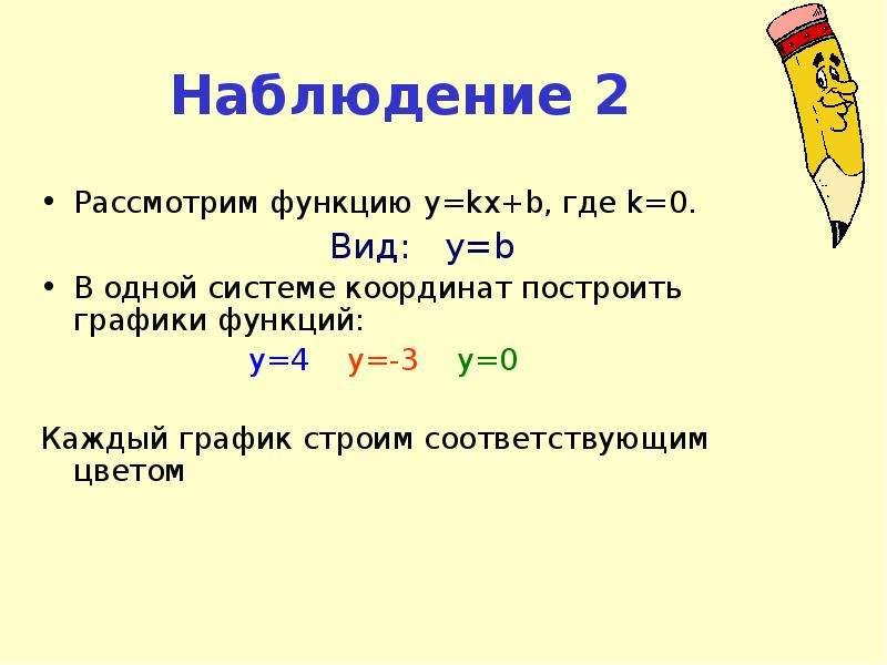 Наблюдение 2 Рассмотрим функцию y=kx+b, где k=0. Вид: y=b В одной системе координат построить график