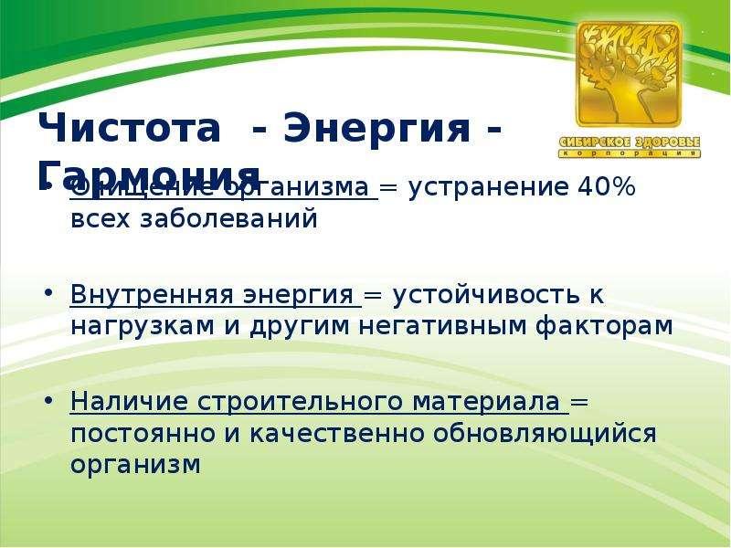 Чистота - Энергия - Гармония Очищение организма = устранение 40% всех заболеваний Внутренняя энергия