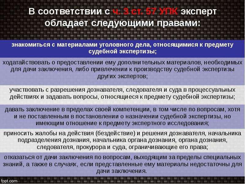 В соответствии с ч. 3 ст. 57 УПК эксперт обладает следующими правами: