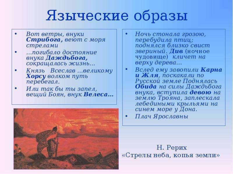 Языческие образы Вот ветры, внуки Стрибога, веют с моря стрелами …погибало достояние внука Даждьбога